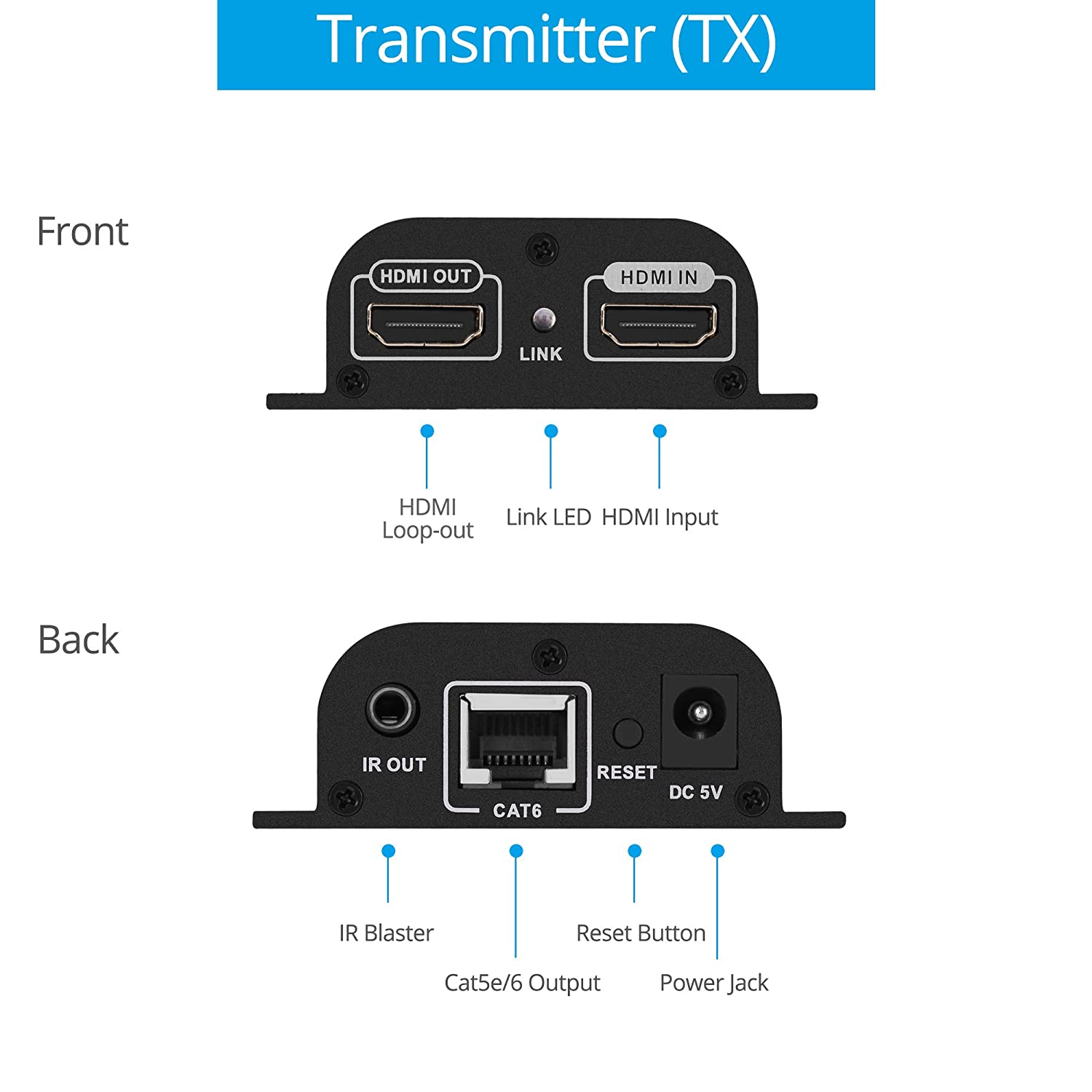 Gofanco 165ft 1080p Hdmi Extender Over A Single Cat5e Power Ethernet Wiring Diagram Note The Dmx Cat6 Cat7 Cable Loop Out Local Output Remote Ir Control Up To 165 Feet 50m