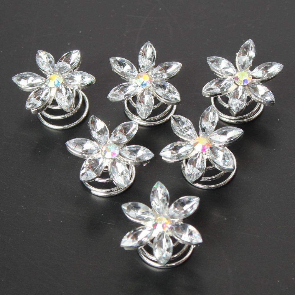 6 Strass Curlies Braut Kommunion Hochzeit Haarschmuck Stern Blume Silber