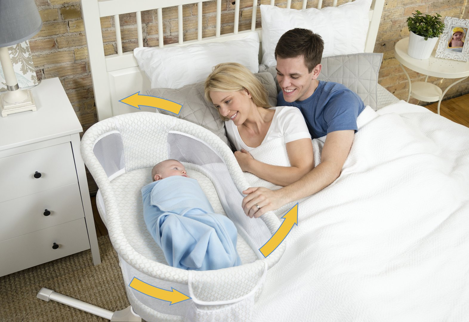 HALO Bassinest Swivel Sleeper Bassinet - Essentia Series, Blue Ikat by Halo (Image #4)
