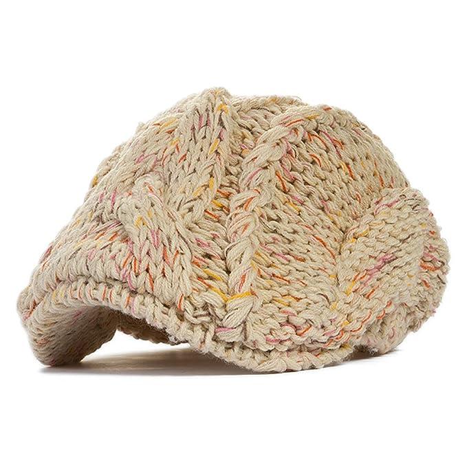 2f45eca6837 ... sweden locomo cabled pattern knit beanie crochet newsboy flat beret cap  hat ffh082bei 80f59 03ed8