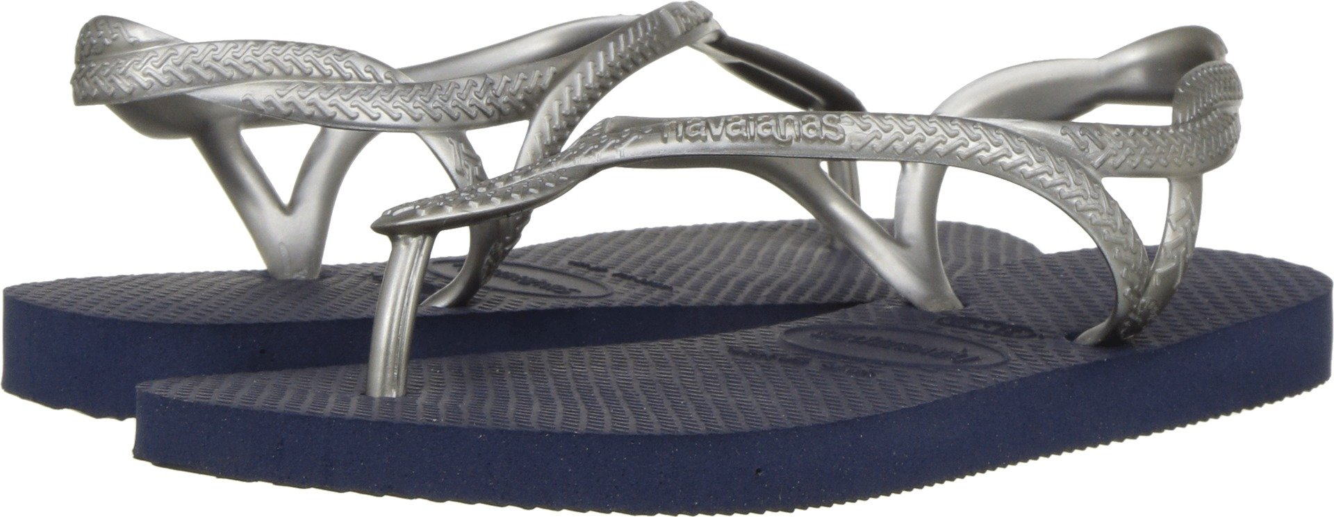 Havaianas Kids Girl's Luna Sandals (Little Kid/Big Kid) Navy Blue/Silver 33-34 M EU