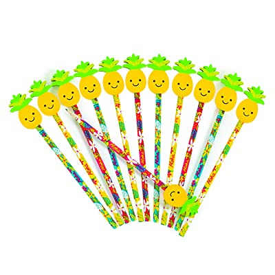 Fun Express Luau Tropical Pencil with Pineapple Eraser Topper (1 Dozen) Classroom Supplies,, Party Favors, Beach Party Decorations: Toys & Games