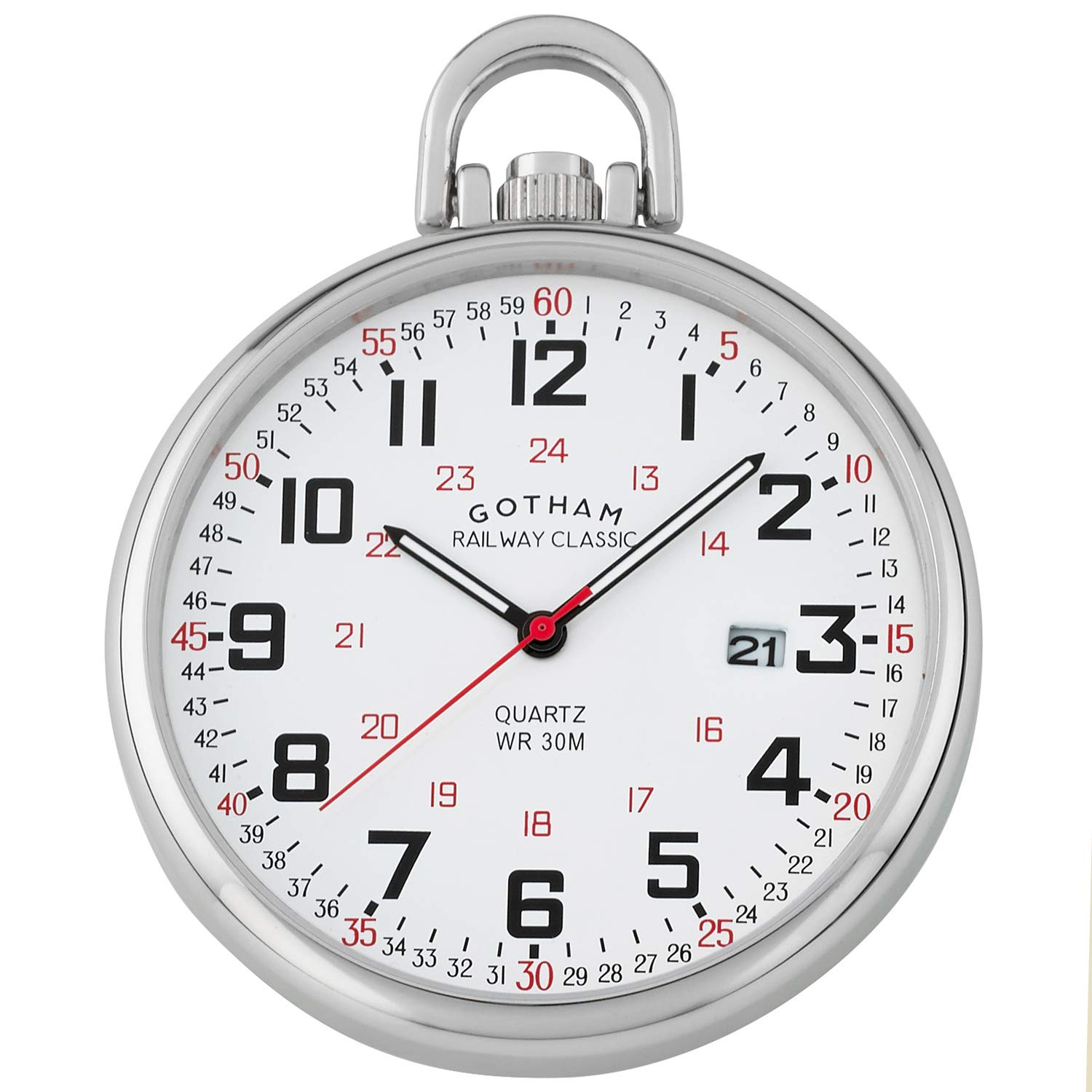 Gotham Men's Stainless Steel Analog Quartz Date Railroad Style Pocket Watch # GWC14107S by Gotham (Image #1)