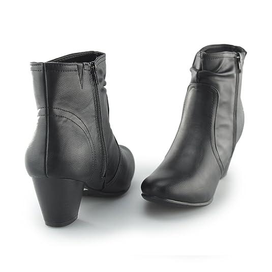 7fbef9c9a91 Comfort Plus Ethel Ladies Wide Fit Zip Block Heel Ankle Boots Black UK 8   Amazon.co.uk  Shoes   Bags