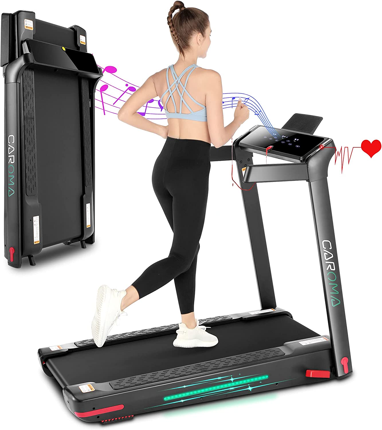 Folding Treadmill for Home, Cardio Running Machine with Incline 4%,12 Program, 3.0HP Power 8.7 MPH Max Speed, LED Touch Screen, 7 Color LED Lights, Bluetooth Speakers, APP Control, Heart Sensor