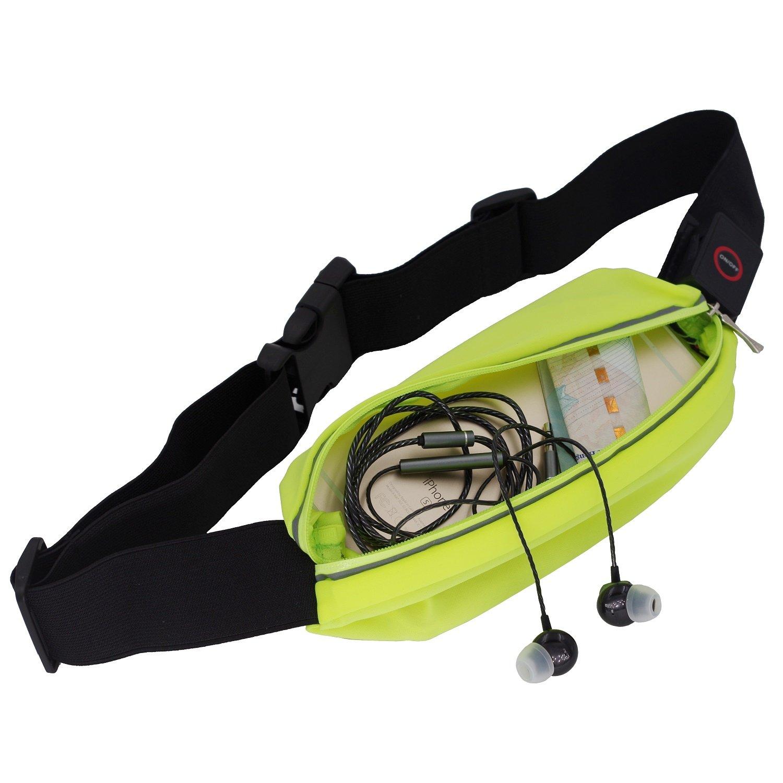 vaburs反射LEDウエストベルトwith Expandableポケット、USB Rechargable、高い可視性ギアforランニング、サイクリング、ウォーキング B072N81423 グリーン グリーン