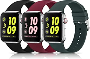 3 Pack Sport Bands Compatible with Apple Watch Band 38mm 40mm 42mm 44mm, Soft Silicone Replacement Band Compatible with iWatch Series 6 5 4 3 2 1 Women Men ( Black/Wine Red/Olive Green 38MM/40MM)
