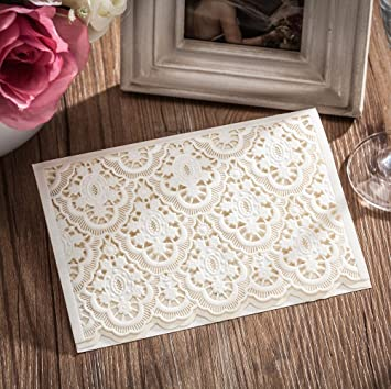 Wishmade 50X White Laser Cut Wedding Invitations With RSVP Cards For  Birthday Party CW6085