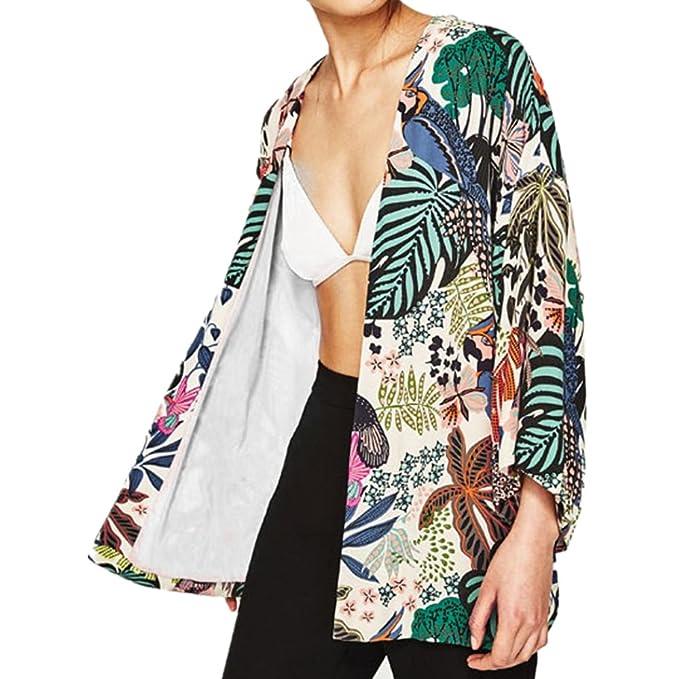 Culater Mujeres Tops Cardigan Chal de Gasa Kimono Impresos Encubrir Blusa (S, Flores)