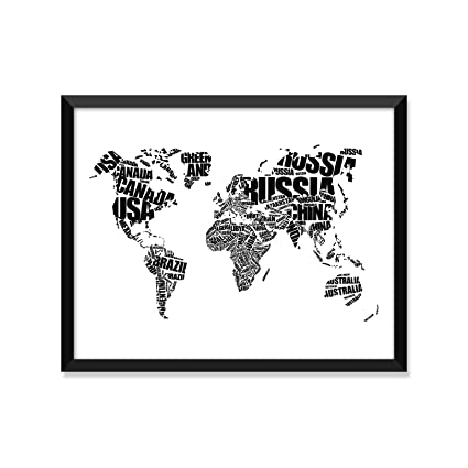 Amazon Com World Map Typography Black And White Unframed Art