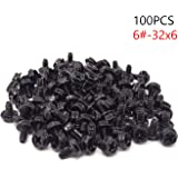 HONBAY 100PCS 6#-32x6 Hex Phillips Head Replacement PC Computer Case Mounting Screws Fastener for Building Repairing and…