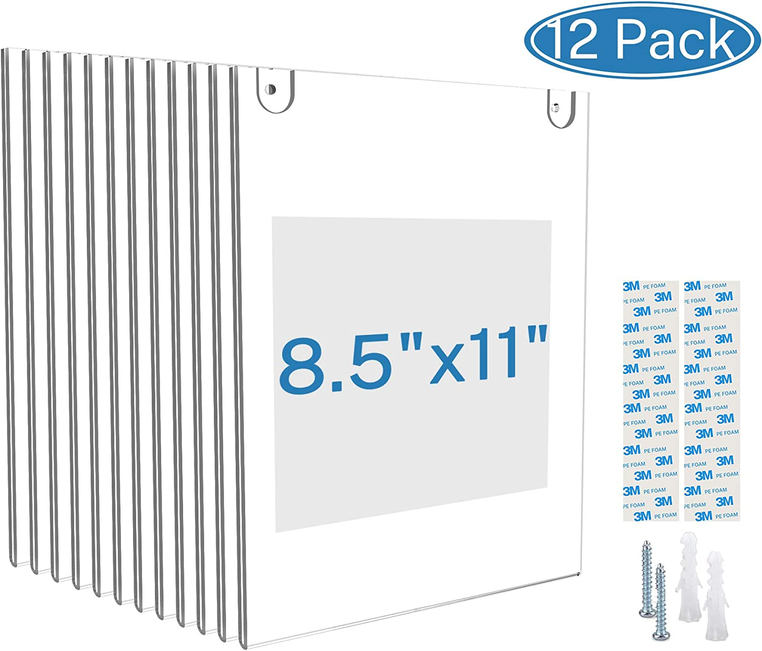 MaxGear Acrylic Sign Holder 8.5 X 11 Wall Mount Sign Holder Clear Plastic Picture Frames with 3M Tape Adhesive and Screws for Office, Home, Store, Restaurant - Vertical, 12 Pack