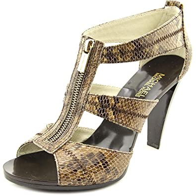 4054b61bc05d Michael Kors Berkley T-Strap Embossed Leather Sand Sandals (9)