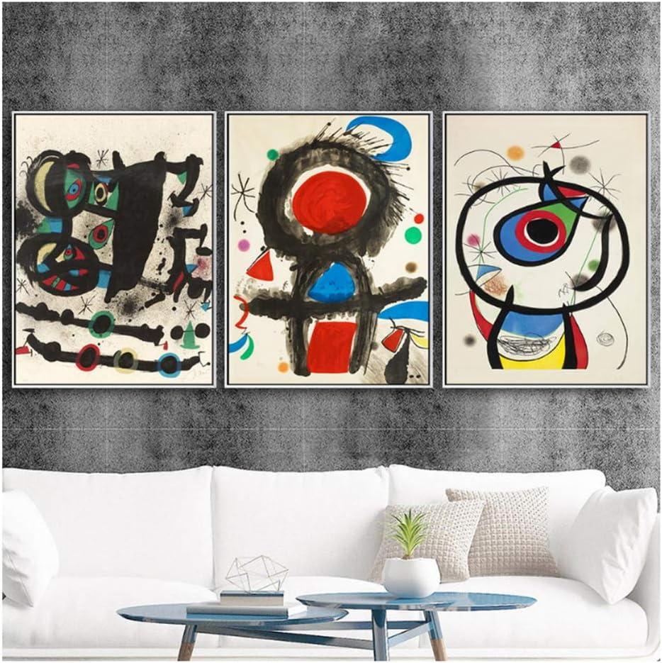 Joan Miro Dibujos Abstractos Decoración para el hogar Impresiones de Carteles Arte de la Pared Pinturas sobre Lienzo Decoración de Cuadros Español -50x70cmX3Pcs Sin Marco