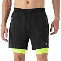 TBMPOY Men's 2 in 1 Running Athletic Shorts Quick Dry Gym Shorts Zip Pockets with Liner