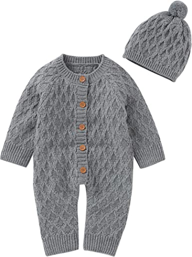 mimixiong Baby Newborn Cotton Knitted Sweater Romper Longsleeve Outfit with Warm Hat Set