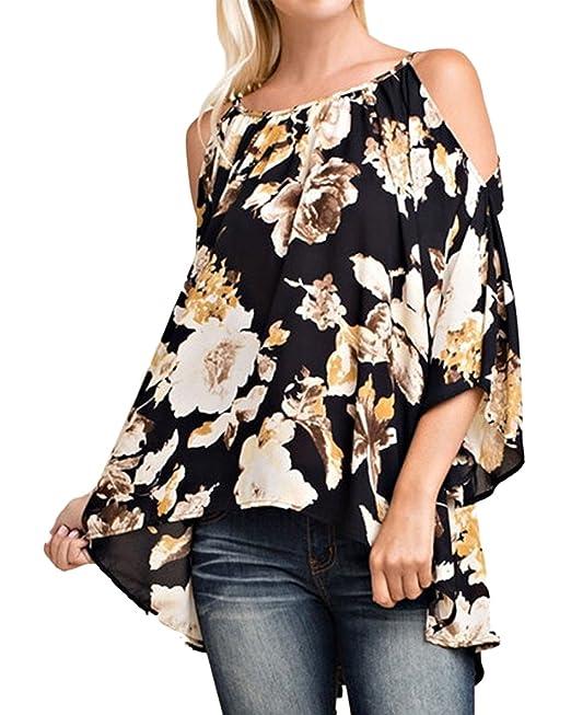 StyleDome Mujer Camiseta Blusa Floral Estampada Cuello Halter Mangas Largas Elegante Oficina Casual (EU 36