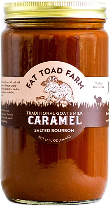 Fat Toad Farm Traditional Goats Milk Caramel Sauce, Salted Bourbon, 32fl oz Jar, Cajeta, Gluten Free