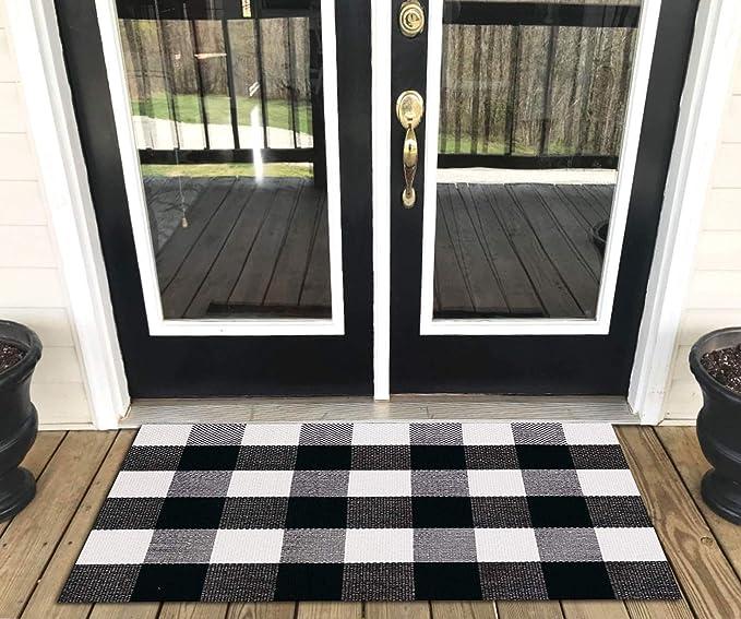 Black White Plaid Cotton Hand-Woven Rug Buffalo Checkered Floor Mat Home Carpet