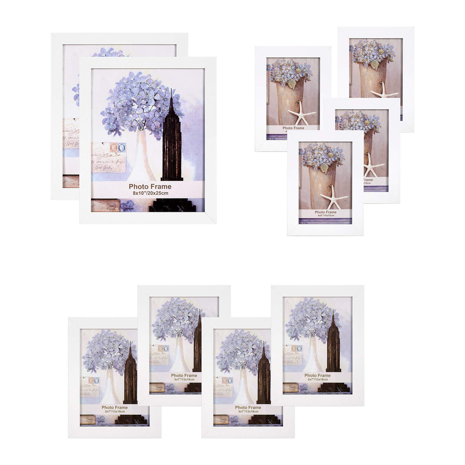 SONGMICS Picture Frames Set of 10, Two 8 x 10 Inch, Four 5 x 7 Inch, Four 4 x 6 Inch, Collage Photo Frames, Clear Glass Front, White URPF10WT by SONGMICS