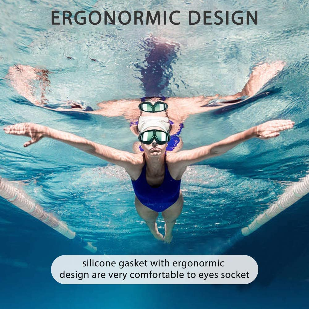 Besimulus Swim Goggles Swimming Goggles with Ear Plugs and Nose Clip No leaking Anti Fog UV Protection for Adult Kids Men Women Youth Triathlon Black