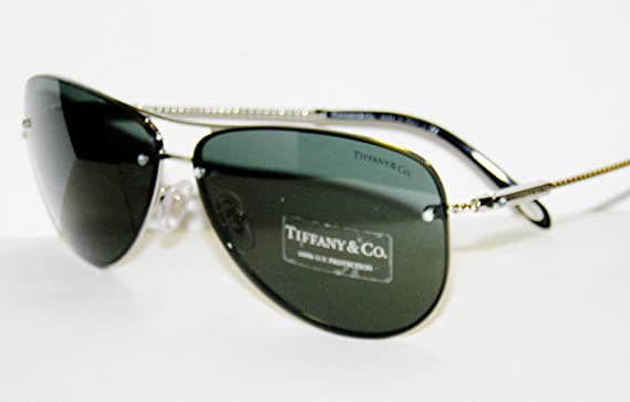 9cfb5b94bf Image Unavailable. Image not available for. Colour  Tiffany   Co. Women s  3039b Silver Frame Grey   Green Lens Metal Sunglasses