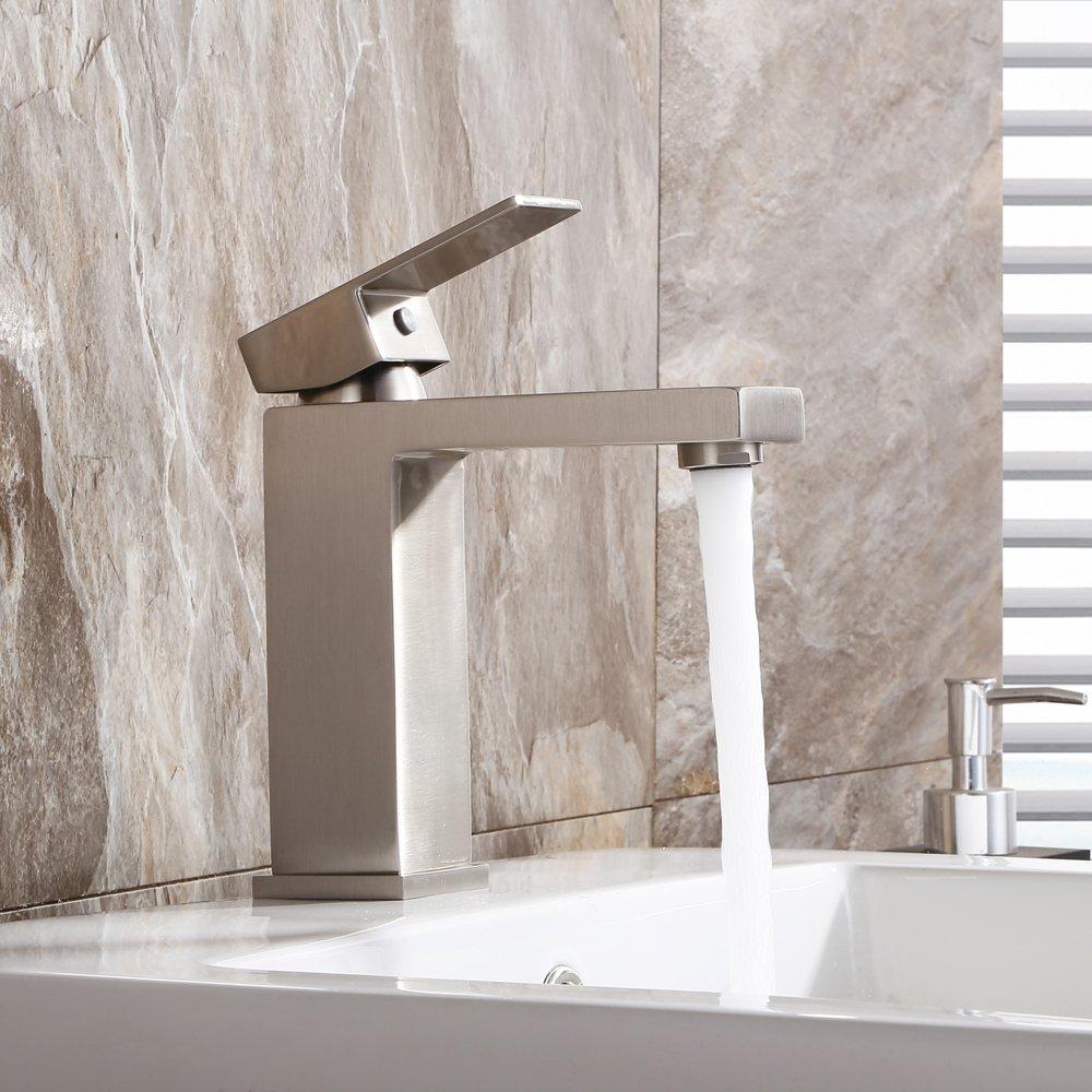 KES Lead-Free Brass Bathroom Sink Faucet Single Handle Lavatory Single Hole Vanity Sink Faucet Brushed Nickel, L3120A1LF-2