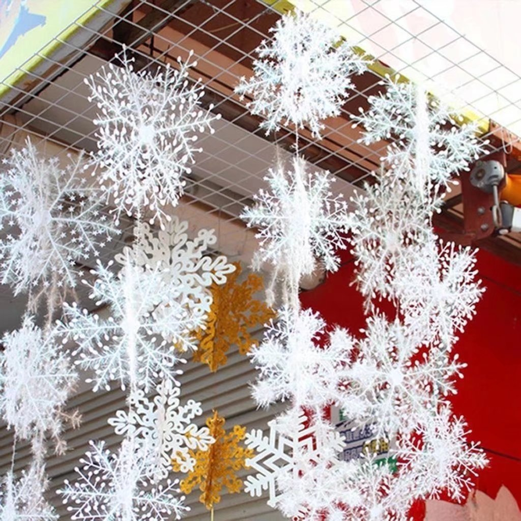 6 Piece White Snowflakes Christmas Decorations Supplies Hanging Ornaments GAOHOU