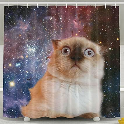 VIMUCIS Space Cat Shower CurtainWaterproof Polyester Curtain Sets For Men Women