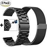 Gear S3 Frontier / Classic Bands - Small 22mm Metal Steel Band+Milanese Loop Mesh Bracelet Strap for Gear S3 Frontier SM-R770 / Classic SM-R760+Tempered Glass (Black Metal+ Mesh-Small)