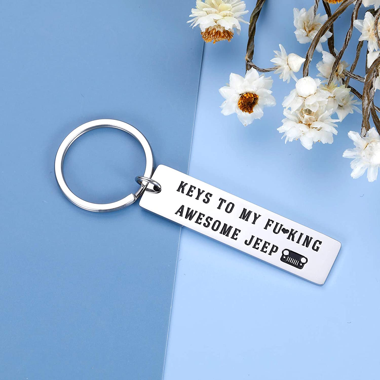 Jeep Lover Keychain Funny Gifts for Men Women Boyfriend Girlfriend Best Friends Husband Wife Soul Jeepsy Enthusiast Christmas Birthday Valentine Gifts for Him Her Daughter Son