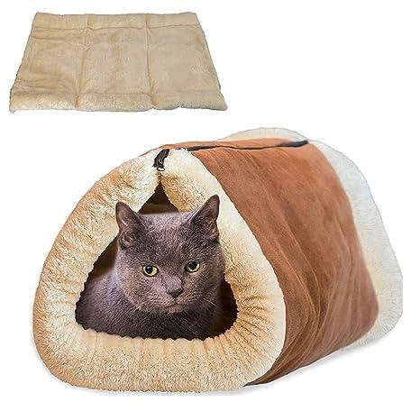 Cama y Mantas para Gatos 2 en 1 Diseño, Tubél y Estera para Mascotas,