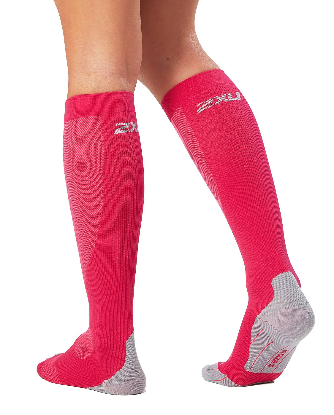 2XU Women's Performance Compression Run Sock, Hot Pink/Grey, X-Small by 2XU (Image #2)