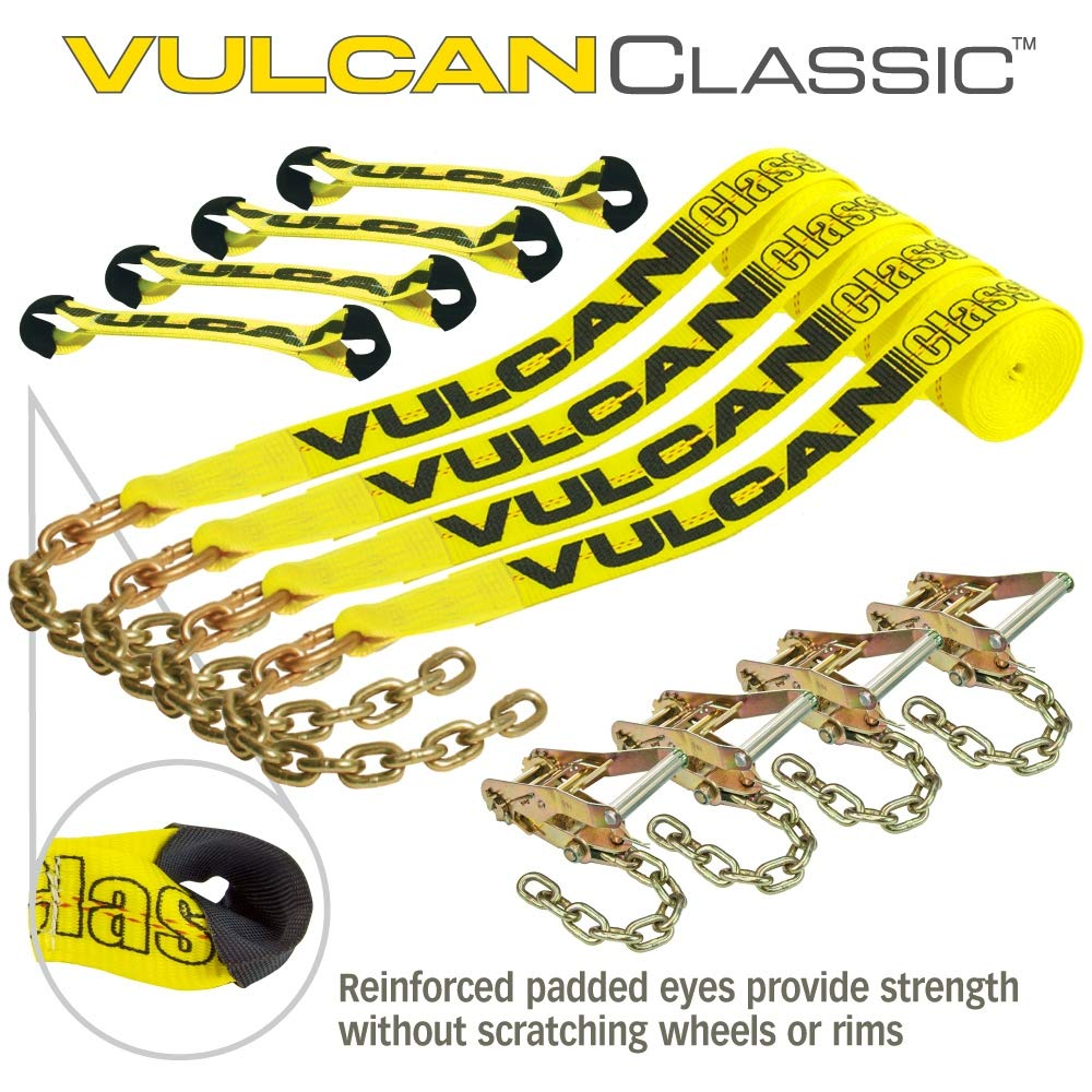 Set of 4 Or Sportscar SUV - Easily Trailer Any Car Jeep VULCAN Classic Yellow 8-Point Roll Back Vehicle Tie Down Kit with Chain Tails On Both Ends Truck