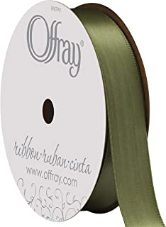 "product image for Berwick Offray 262849 5/8"" Wide Single Face Satin Ribbon, Moss Green, 6 Yds"