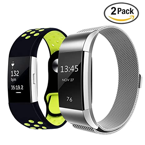 fitbit charge 2 bandes acier inoxydable milanaise bande de charge pour bracelet fitbit charge 2+