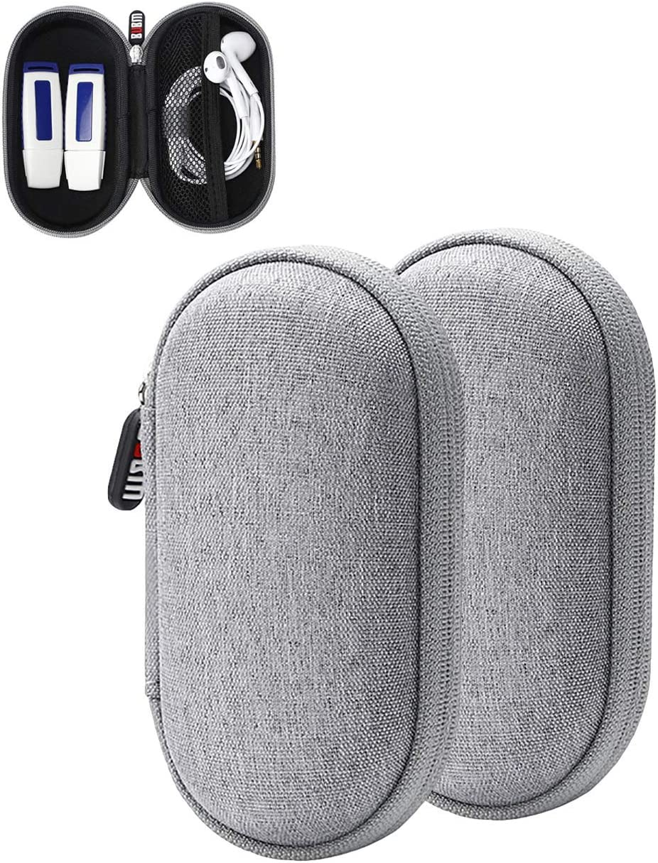 Oriolus Earphone Case Earbuds Case Holder Headphone Ear Bud Storage Case (Oval Grey)