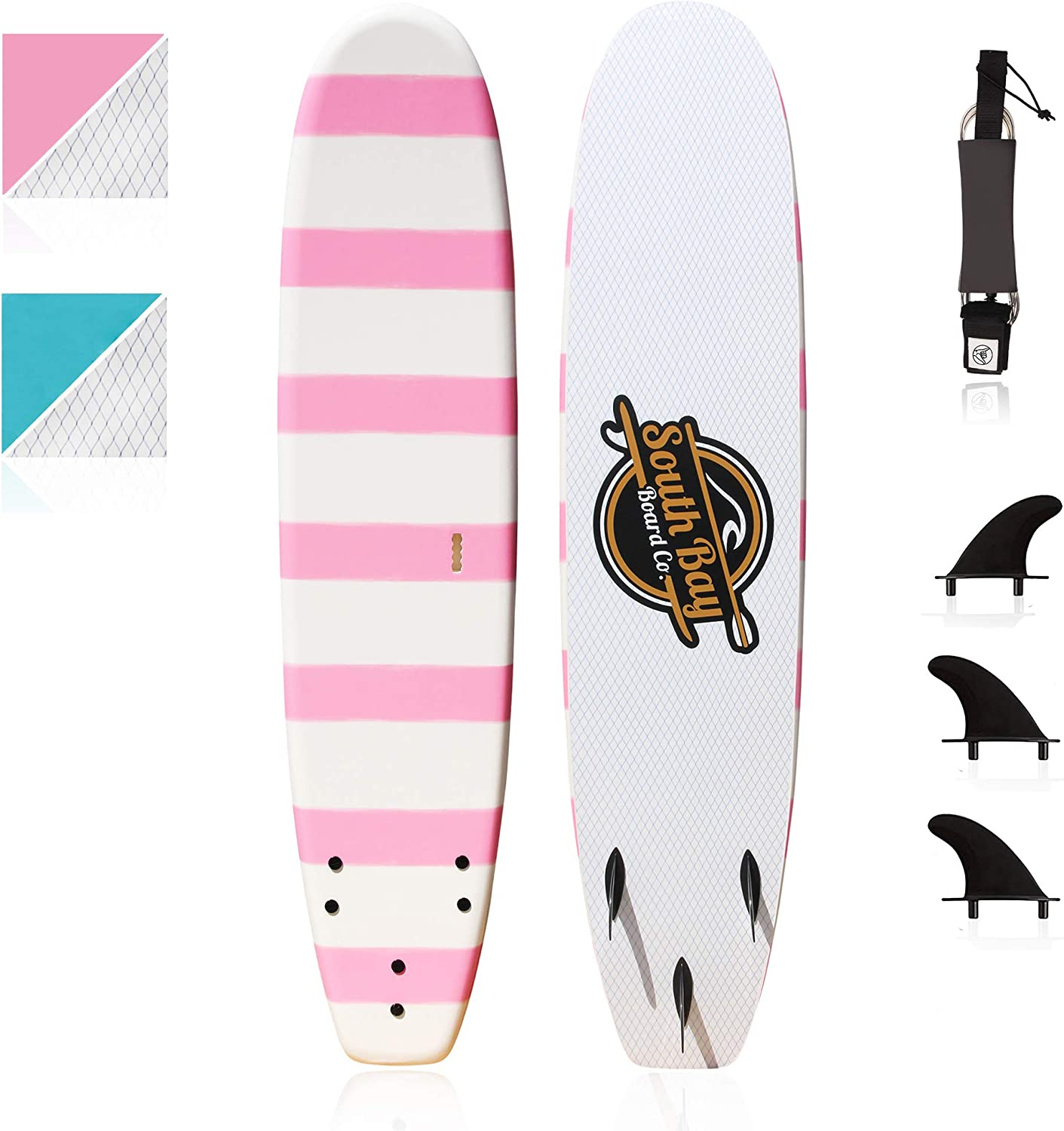 Beginner Surfboard (Soft Top Foam) for Kids, Teenagers & Lightweight Adults-6' & 8' Guppy-with 3 Rounded-Edge Soft-Top Surfboard Fins (Thruster Set)