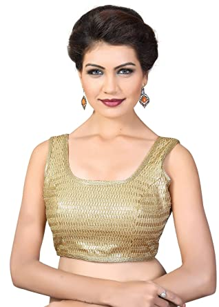 b1a906982f543 Amazon.com  Saris and Things Gold Sequence Fancy Back Open Saree ...