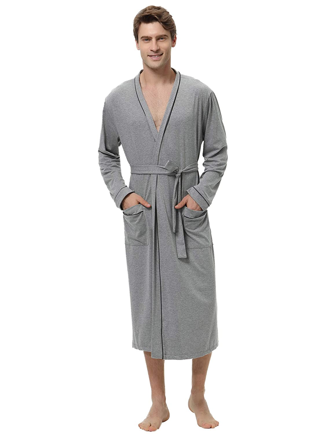 Aibrou Mens Cotton Robe Lightweight Long Lounge Sleepwear Knit Bathrobe AMB00166