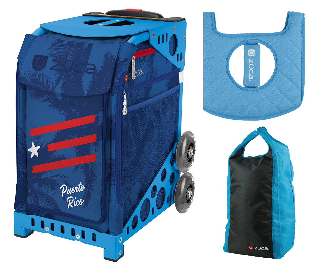 Zuca Sport Bag - Puerto Rico with Gift Stuff Sack and Seat Cover (Blue Frame) by ZUCA