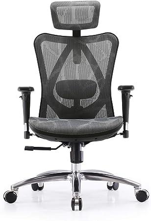 Sihoo Ergonomic Office Chair Adjustable Lumbar Support 3d Armrests Skin Friendly Mesh Desk Chair High Back Grey Amazon Co Uk Kitchen Home