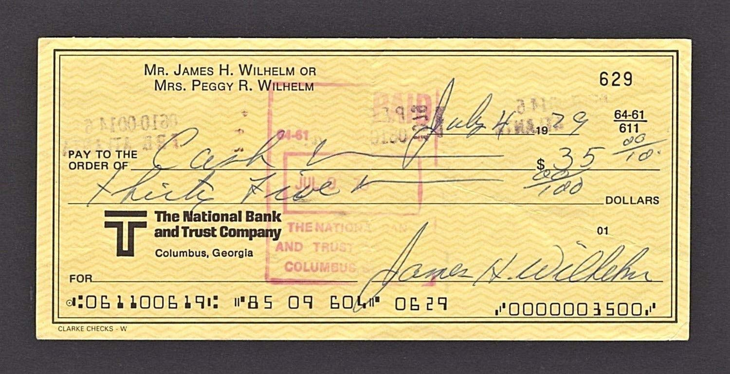 Hoyt Wilhelm Autographed Signed Check W/Beckett Authentic
