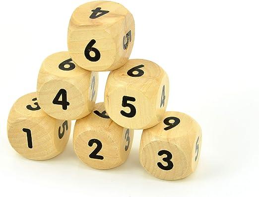 10 Stück 30mm Holz D6 Sechsseitige Würfel Brettspielwürfel für Partyspiel