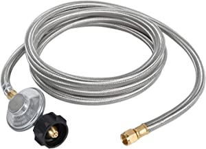 "GasSaf 6 Feet Propane Regulator and Hose Universal Grill Regulator Replacement with Stainless Steel Braided Hose for QCC1 Low Pressur LP Gas Grill, Heater and Fire Pit Table,3/8"" Female Flare Nut"