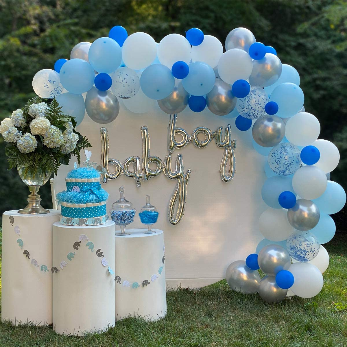 Balloon Arch kit with pump- Balloon Garland Arch Kit, 110 pcs, White Royal Blue Silver and Blue Confetti Latex Balloons for Baby Shower, Bridal Shower, Birthday, Wedding, Bachelorette, Anniversary Party Backdrop, DIY Décor, Elephant Decorations Theme