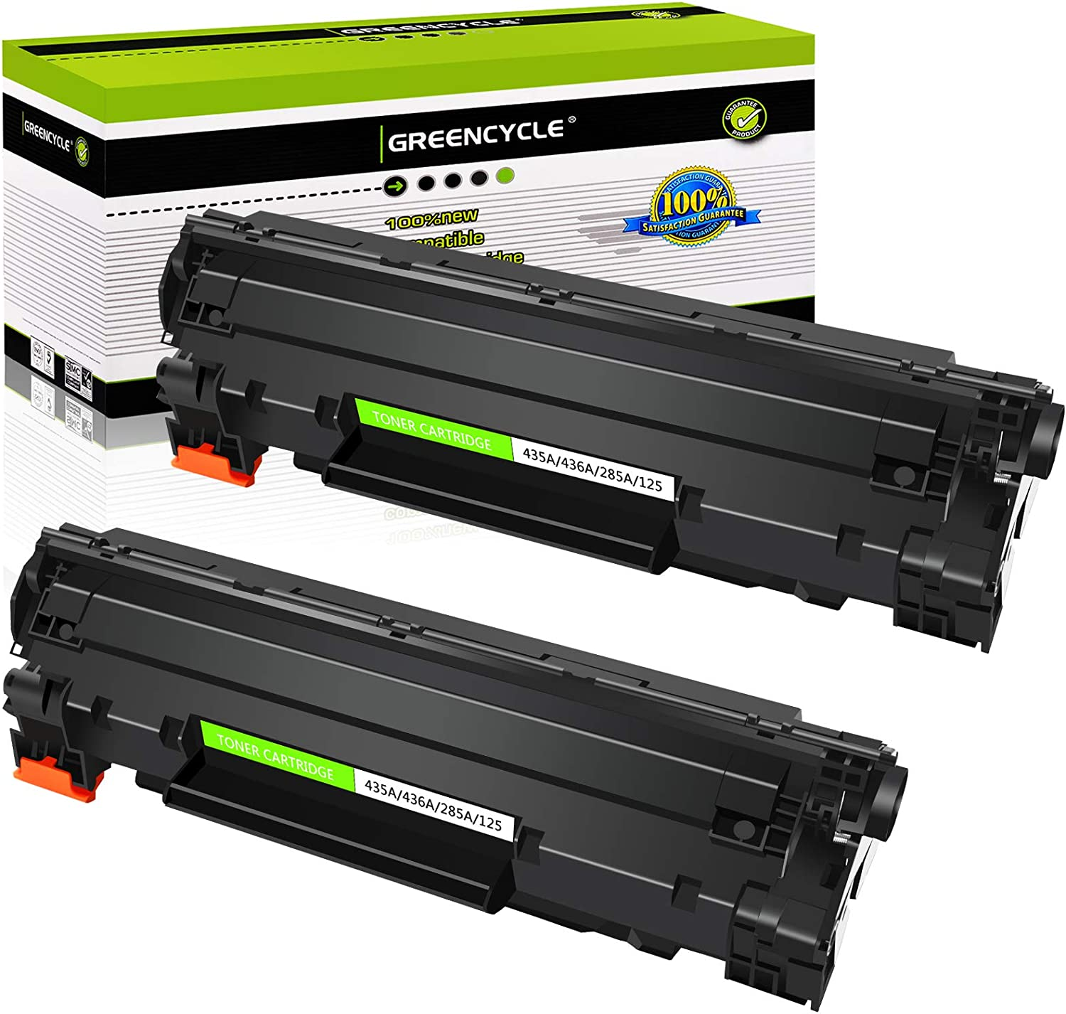 GREENCYCLE 2 PK Black CE285A 85A Toner Cartridge Replacement Compatible for HP Laserjet P1002 1003 1004 1005 1006 1009 P1102 P1102w Printer
