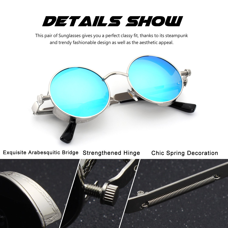 0a0f982c89 CGID E72 Retro Steampunk Style Inspired Round Metal Circle Polarized  Sunglasses for Women Men