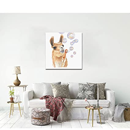 Amazon.com: COLORSFORU Watercolor Llama Bubble Canvas Print No Frame ...