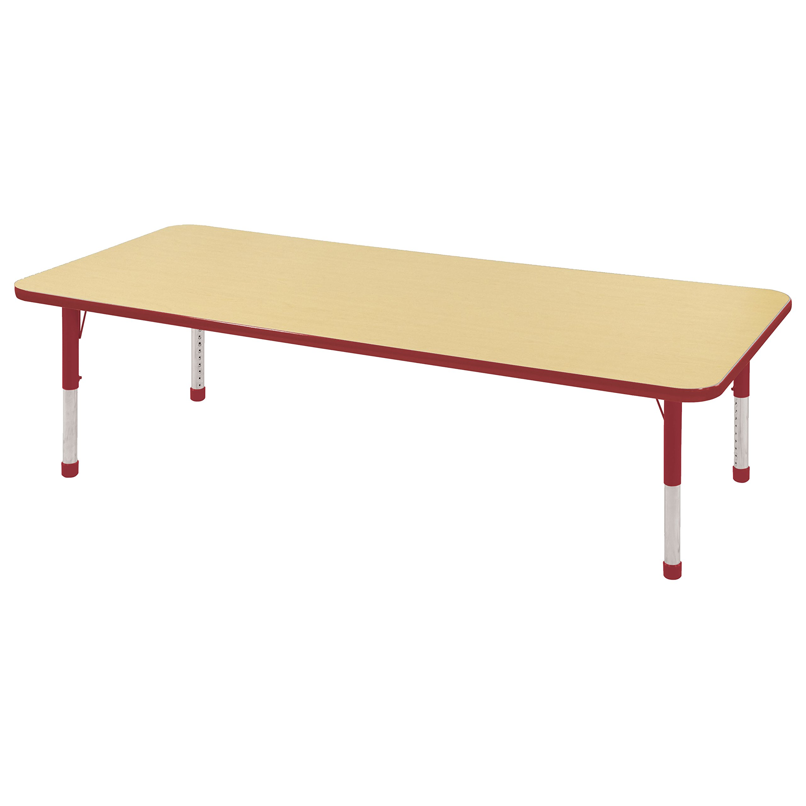 ECR4Kids T-Mold 24'' x 72'' Rectangular Activity School Table, Chunky Legs, Adjustable Height 15-24 inch (Maple/Red) by ECR4Kids